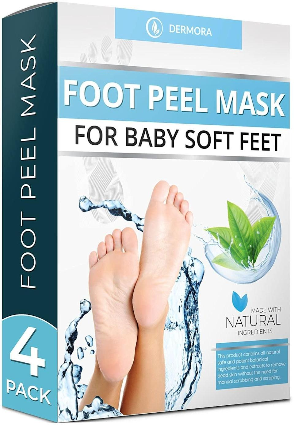 <p>Your feet will look and feel soft and hydrated with the <span>Dermora Foot Peel Mask - 4 Pack</span> ($25).</p>