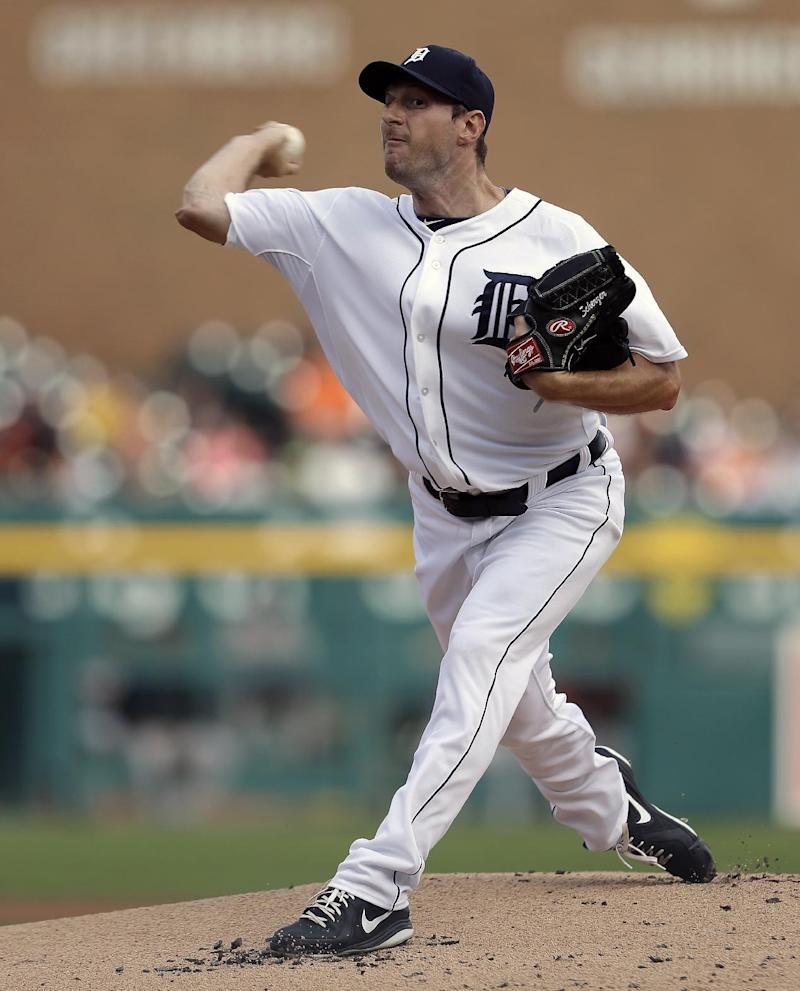 Detroit Tigers pitcher Max Scherzer throws against the Baltimore Orioles in the first inning of a baseball game in Detroit, Monday, June 17, 2013.  (AP Photo/Paul Sancya)