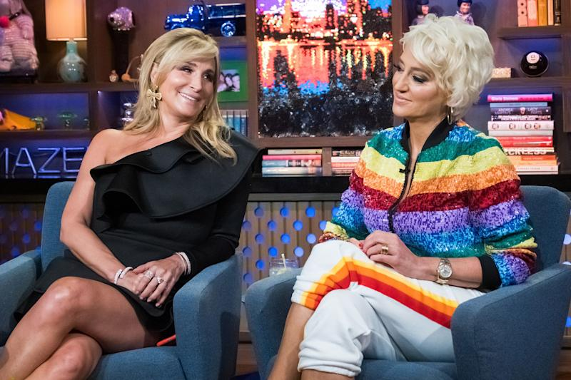 """Sonja Morgan and Dorinda Medley during an appearance on """"Watch What Happens with Andy Cohen."""" The """"Real Housewives"""" co-stars were overheard making transphobic comments about a model at a New York Fashion Week show. (Photo: Bravo via Getty Images)"""