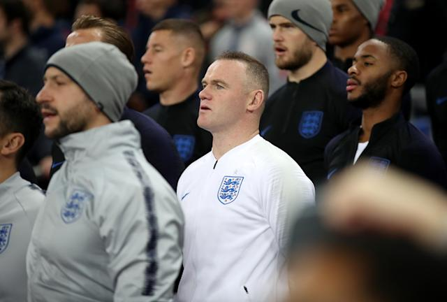 Rooney sings the national anthem (Nick Potts/PA)