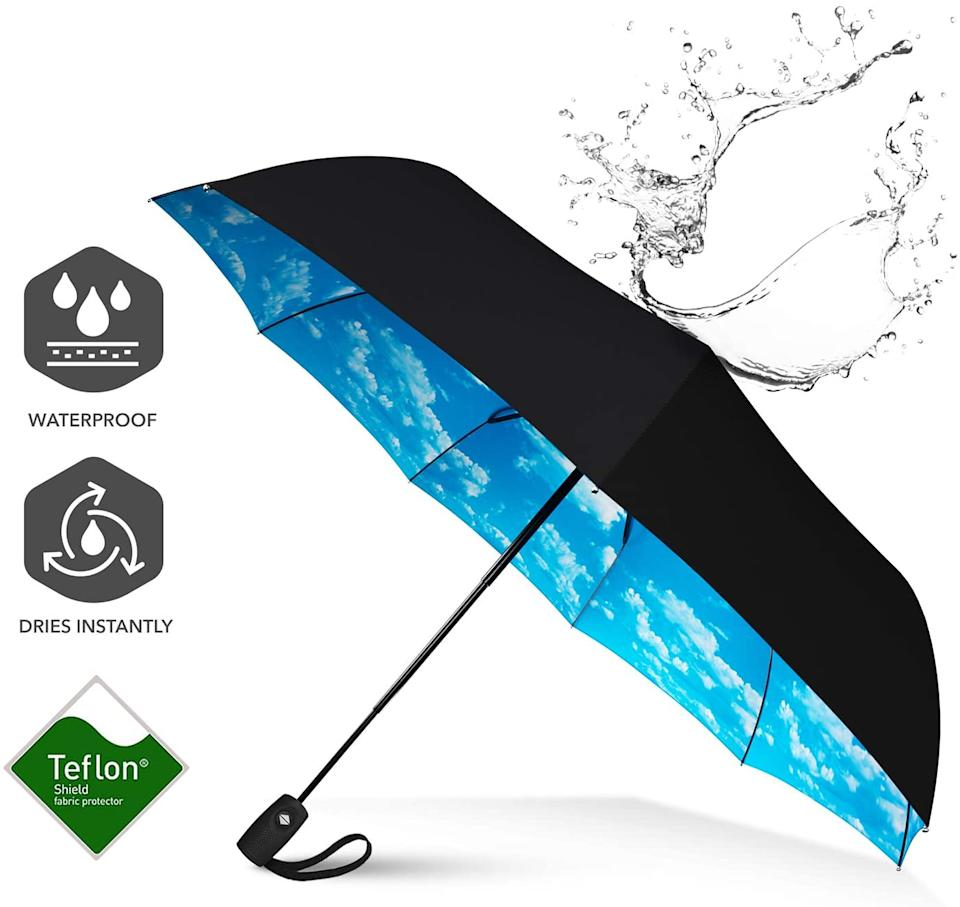 Repel Umbrella Windproof Travel Umbrella with Teflon Coating (Blue Sky). Image via Amazon.