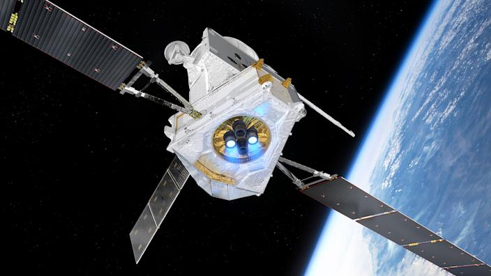 """An artist's impression of the BepiColombo spacecraft flying past Earth. <p class=""""copyright"""">ESA/ATG medialab</p>"""