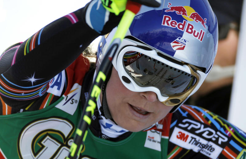 Lindsey Vonn, of the United States, gets ready to start an alpine ski, women's World Cup downhill, in Schladming, Austria, Wednesday, March 14, 2012. Lindsey Vonn ended the women's World Cup downhill season in style by dominating the final race on Wednesday. (AP Photo/Shinichiro Tanaka)