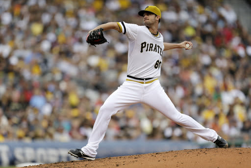 Pittsburgh Pirates starting pitcher Kris Johnson (60) delivers during the second inning of a baseball game against the St. Louis Cardinals in Pittsburgh Sunday, Sept. 1, 2013. (AP Photo/Gene Puskar)