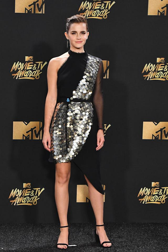 <p>The eco-superstar was black and silver and glam all over in Kitx. (Photo: Getty Images) </p>