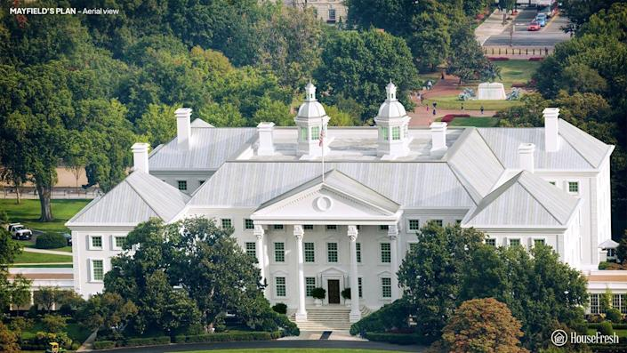 Aerial view of the White House designed by Andrew Mayfield Carshore.