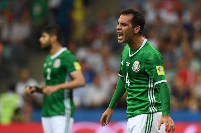 "Mexico captain and star defender Rafael Marquez was placed Wednesday on a US blacklist for allegedly acting as a ""front man"" for a Guadalajara drug cartel. The picture here shows him during the 2017 Confederations Cup semi-final against Germany in Sochi. (AFP Photo/FRANCK FIFE)"