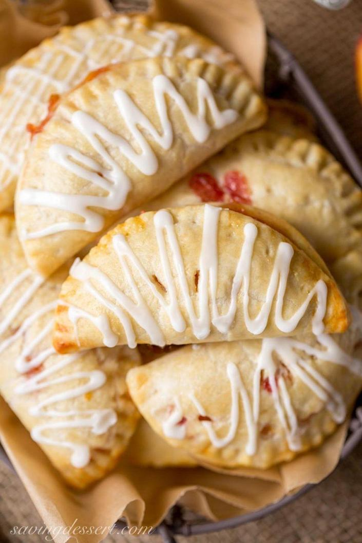 "<p>Everyone's favorite dessert can now be enjoyed as a bite-size treat. </p><p><strong>Get the recipe at <a href=""http://www.savingdessert.com/peach-hand-pies/"" rel=""nofollow noopener"" target=""_blank"" data-ylk=""slk:Saving Dessert"" class=""link rapid-noclick-resp"">Saving Dessert</a>.</strong></p>"