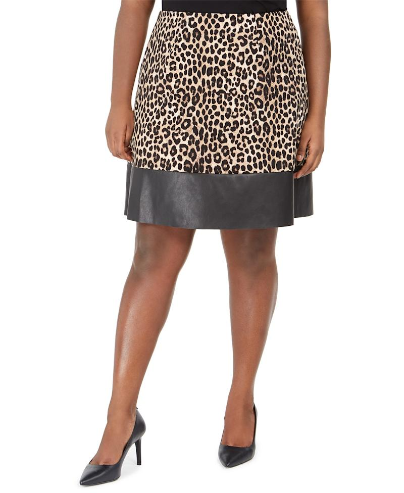 Michael Kors Animal Print Faux Leather Trim Skirt. (Photo: Macy's)