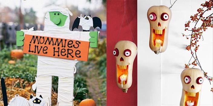 """<p>Instead of buying that huge, inflatable skeleton you keep seeing online, why not make your own <a href=""""https://www.womansday.com/halloween/"""" rel=""""nofollow noopener"""" target=""""_blank"""" data-ylk=""""slk:Halloween"""" class=""""link rapid-noclick-resp"""">Halloween</a> crafts and save yourself money? Not only will you be protecting your pocket, but you'll get to spend quality time with your family as you all collaborate to turn your home into a spooky destination on Halloween night. With everything from DIY Halloween wreaths and <a href=""""https://www.womansday.com/home/decorating/g331/4-no-carve-pumpkin-ideas-124409/"""" rel=""""nofollow noopener"""" target=""""_blank"""" data-ylk=""""slk:no-carve pumpkin ideas"""" class=""""link rapid-noclick-resp"""">no-carve pumpkin ideas</a> to <a href=""""https://www.womansday.com/home/crafts-projects/how-to/g309/9-devilishly-fun-decorating-projects-110896/"""" rel=""""nofollow noopener"""" target=""""_blank"""" data-ylk=""""slk:spooky decorations"""" class=""""link rapid-noclick-resp"""">spooky decorations</a> and even decorated pillows, these <a href=""""https://www.womansday.com/home/crafts-projects/g2490/halloween-kids-crafts/"""" rel=""""nofollow noopener"""" target=""""_blank"""" data-ylk=""""slk:Halloween crafts"""" class=""""link rapid-noclick-resp"""">Halloween crafts</a> are so easy to make that even the kids can join. </p><p>You can find most of the materials you'll need to complete these Halloween crafts on <a href=""""https://www.amazon.com/"""" rel=""""nofollow noopener"""" target=""""_blank"""" data-ylk=""""slk:Amazon"""" class=""""link rapid-noclick-resp"""">Amazon</a>, if you don't mind waiting a couple of days, or at craft stores, like <a href=""""https://www.michaels.com/"""" rel=""""nofollow noopener"""" target=""""_blank"""" data-ylk=""""slk:Michael's"""" class=""""link rapid-noclick-resp"""">Michael's</a>. And if you're worried about making a mess, spread out newspaper all over your floors or lawn before spray painting your Halloween wreath. </p><p>So start getting ready for Halloween and scroll through for some easy DIY Halloween crafts that will make your home st"""