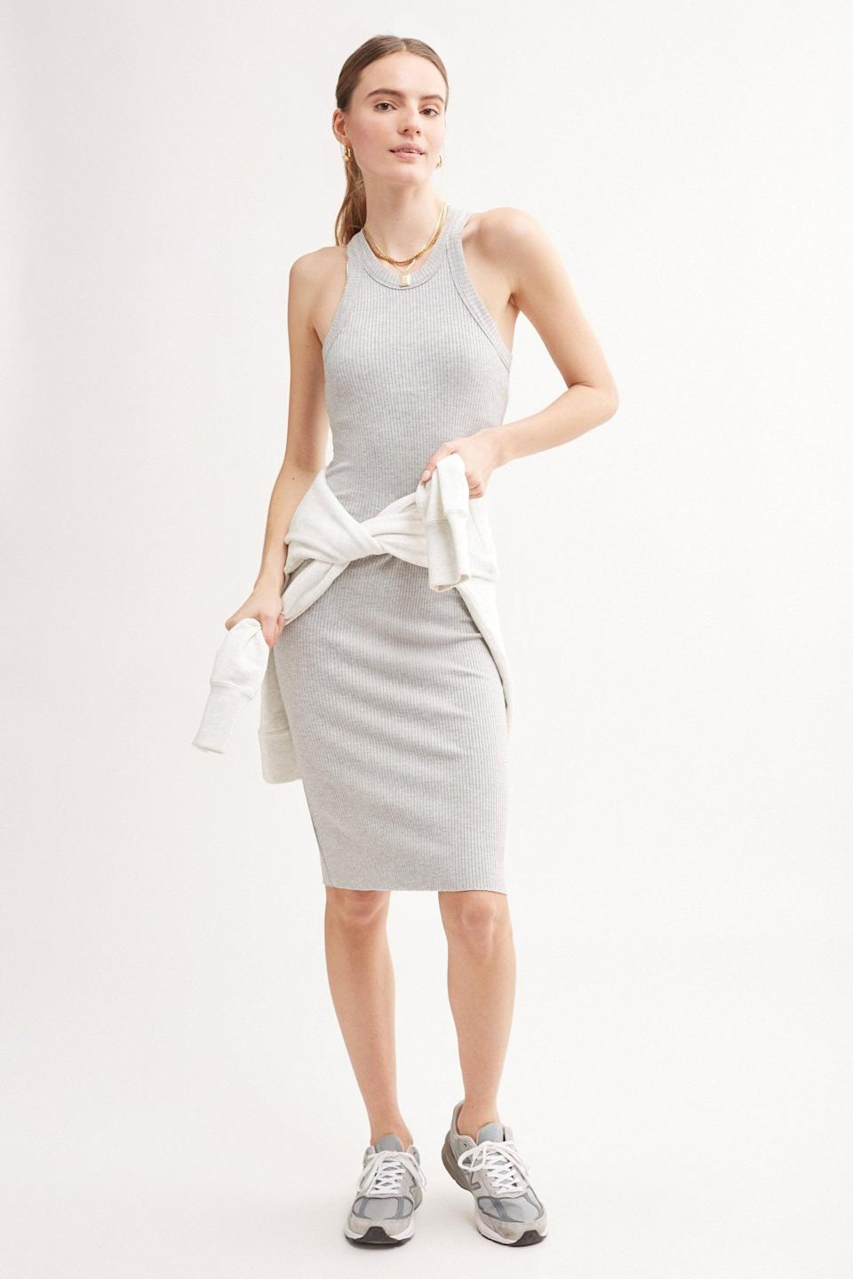 <p>This <span>Wsly The Rivington Ribbed Tank Dress</span> ($98) comes in so many different colors, but we love the light gray. The material is so soft and easy to wear; you'll be living in it.</p>