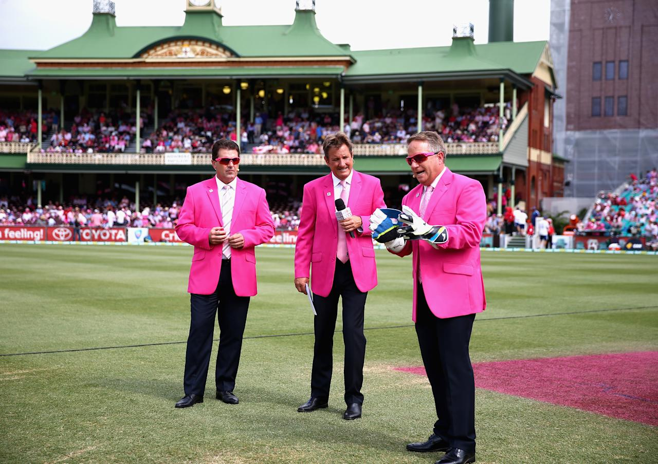 SYDNEY, AUSTRALIA - JANUARY 05: Commentators Mark Taylor, Mark Nicholas and Ian Healy wear pink on Jane McGrath Fayduring day three of the Fifth Ashes Test match between Australia and England at Sydney Cricket Ground on January 5, 2014 in Sydney, Australia.  (Photo by Ryan Pierse/Getty Images)
