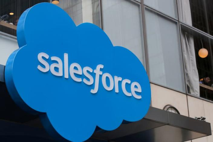 The company logo for Salesforce.com is displayed on the Salesforce Tower in New York