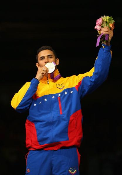 LONDON, ENGLAND - AUGUST 01:  Gold medalist  Ruben Limardo Gascon of Venezuela poses on the podium during the medal ceremony for the Men's Epee Individual Fencing on Day 5 of the London 2012 Olympic Games at ExCeL  on August 1, 2012 in London, England.  (Photo by Hannah Johnston/Getty Images)