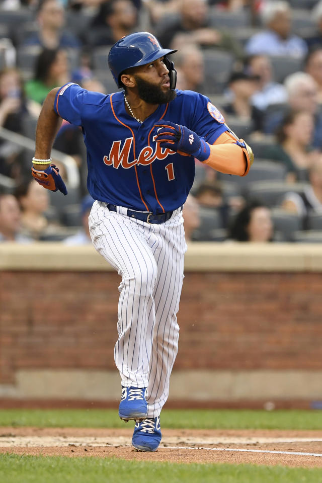 New York Mets' Amed Rosario runs after hitting a home run during the first inning of a baseball game against the Washington Nationals, Monday, May 20, 2019, in New York. (AP Photo/Sarah Stier)