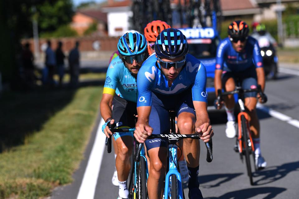 TURIN ITALY  AUGUST 05 Davide Villella of Italy and Movistar Team  Manuele Boaro  of Italy and Astana Pro Team  Breakaway  during the 101st Milano  Torino 2020 a 198km race from Mesero to Stupinigi  Turin  MilanoTorino  on August 05 2020 in Stupinigi  Turin Italy Photo by Tim de WaeleGetty Images