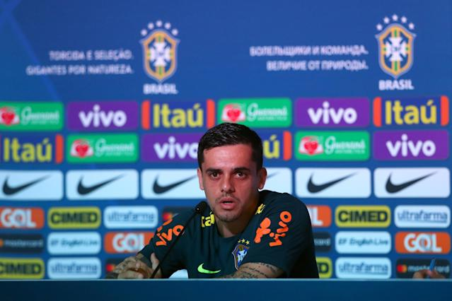 Soccer Football - World Cup - Brazil Press Conference - Brazil Training Camp, Sochi, Russia - June 24, 2018 Brazil's Fagner during the press conference REUTERS/Hannah McKay