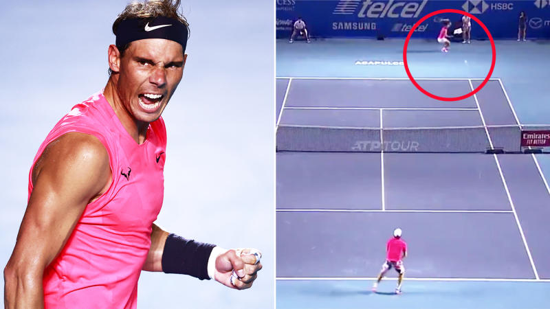 Rafael Nadal, pictured here hitting an insane winner in Mexico.