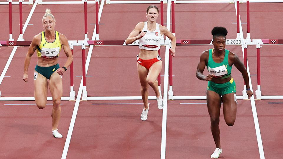 Liz Clay, pictured here in the 100m hurdles semi-finals at the Olympics.