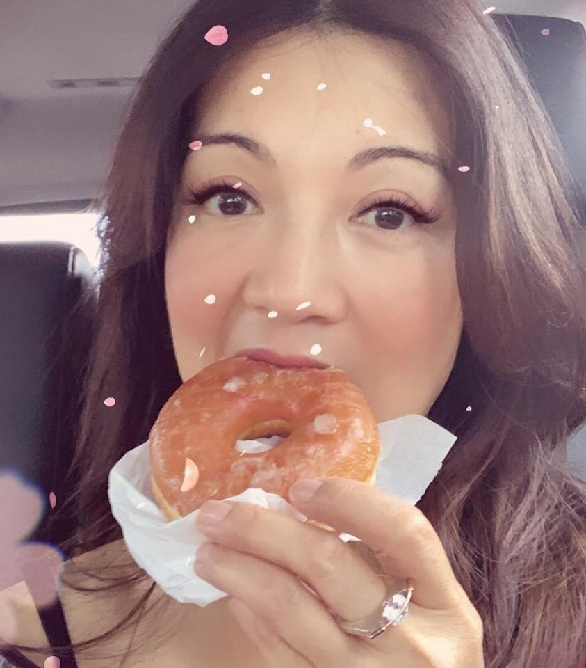 """Normally, I don't <a href=""https://www.instagram.com/p/B1G0cclJq3e/"">do donuts</a>,"" wrote the <em>Mulan</em> actress. ""But after a quick 24 hr turn around from NYC to LA and this redeye back to NYC, it's 'DO-nut' this am!"""