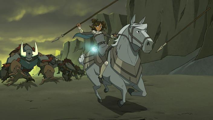 A still from Centaurworld shows a young girl Rider on her horse running through a desolate landscape