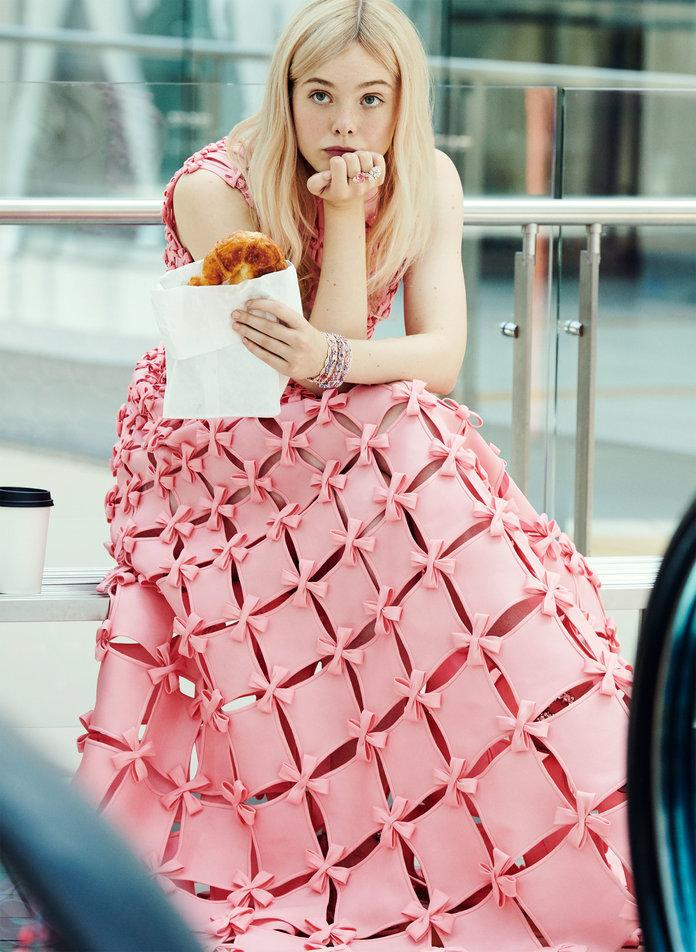 Fanning in Valentino Haute Couture dress. Chopard bracelet and rings. Photographed by Pamela Hanson/LGA Management.