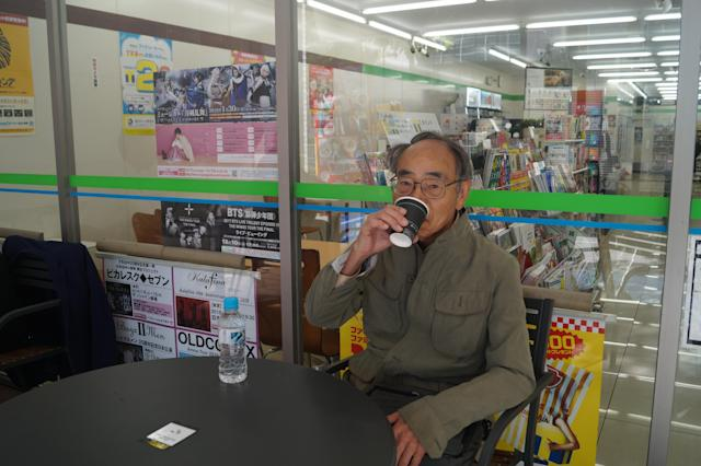 """<p>Takehiko Tsuiki, 73, lives in Hiratsuka city in Kanagawa Prefecture. He stopped by a FamilyMart, a large Japanese convenience store chain, for coffee before going to his doctor's office in Tokyo on Nov. 6, 2017. """"I'm sure Trump and Abe are trying to address that threat but I think it's a problem between the U.S. and North Korea, not Japan and North Korea,"""" Tsuiki said. """"What we have to do is put a period, put an end on the Korean War because it hasn't officially ended. The parties involved in the Korean War include the U.S., South Korea and the United Nations — not Japan."""" (Photo: Michael Walsh/Yahoo News) </p>"""