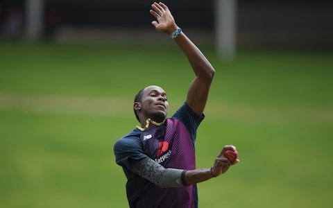 England bowler Jofra Archer in bowling action in the nets during England training ahead of the 4th and Final Test Match at The Wanderers on January 23, 2020 in Johannesburg, South Africa. - Credit: Getty Images