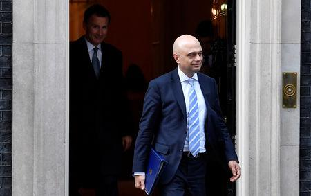 FILE PHOTO: Britain's Home Secretary Sajid Javid is seen outside Downing Street in London, Britain March 14, 2019.  REUTERS/Toby Melville