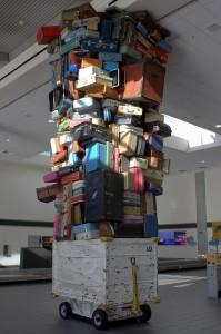 Tons of luggage reaching the ceiling