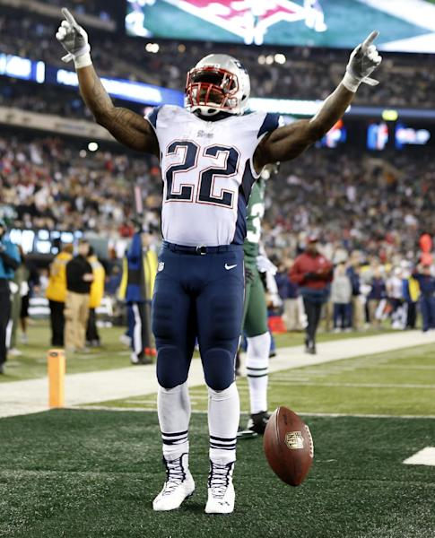 New England Patriots' Stevan Ridley celebrates after scoring a touchdown during the second half of an NFL football game against the New York Jets, Thursday, Nov. 22, 2012, in East Rutherford, N.J. (AP Photo/Julio Cortez)