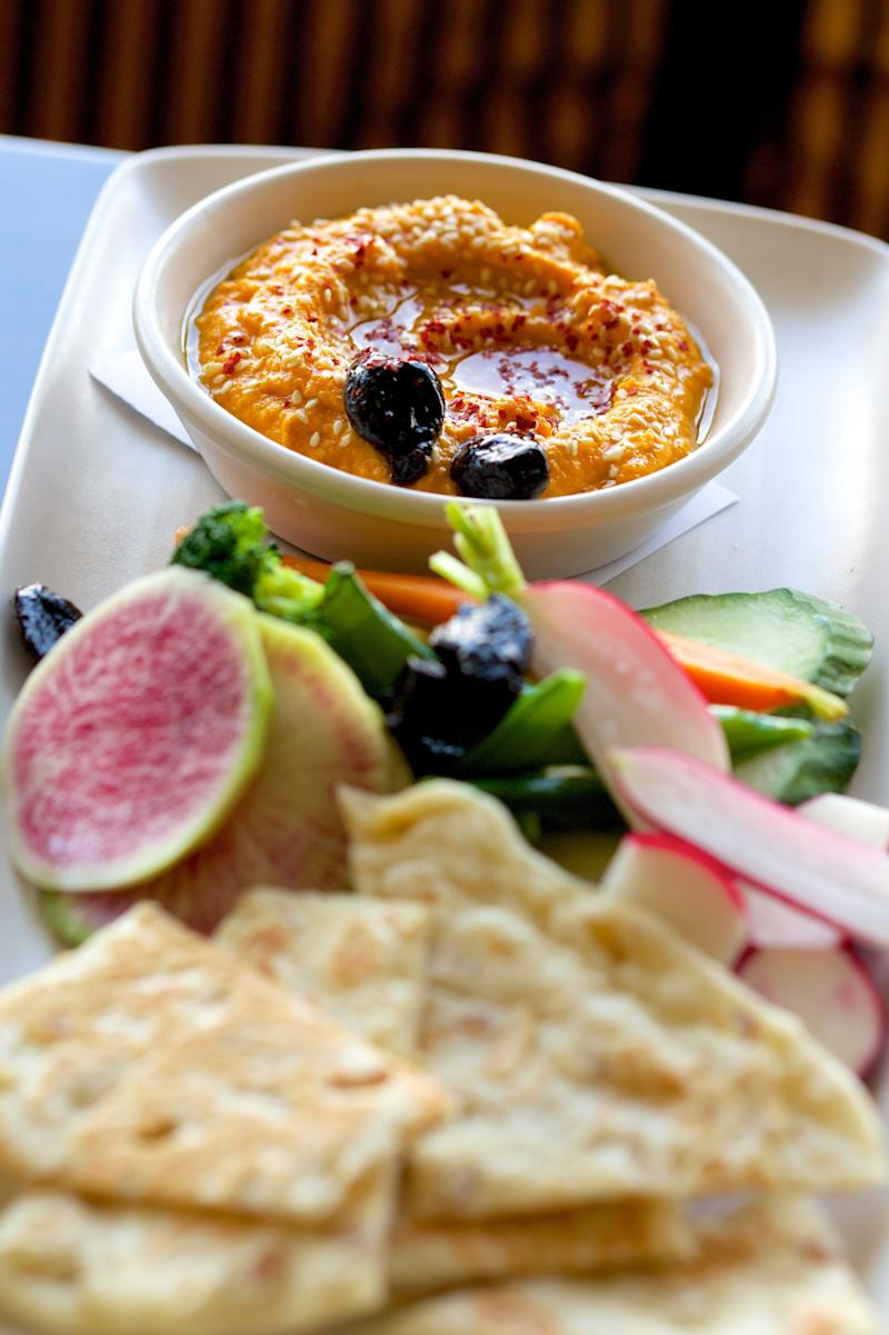 Carrot Hummus from Cru Oyster Bar Nantucket Cookbook: Savoring Four Seasons of the Good Life by Erin Zircher, Jane Stoddard, Carlos Hidalgo, and Martha W. Murphy