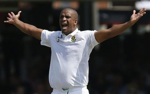 South Africa's Vernon Philander makes a successful appeal for the wicket of Englands Keaton Jennings for eight runs during the first day of the first Test match between England and South Africa at Lord's - Credit: IAN KINGTON/AFP/Getty Images