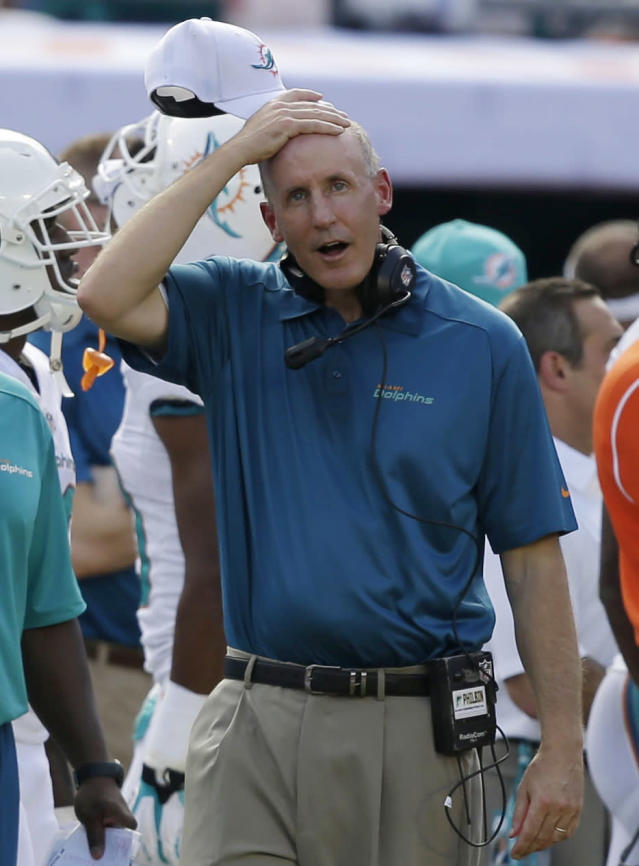 Miami Dolphins head coach Joe Philbin gestures during the first half of an NFL football game against the Atlanta Falcons, Sunday, Sept. 22, 2013, in Miami Gardens, Fla. (AP Photo/Lynne Sladky)