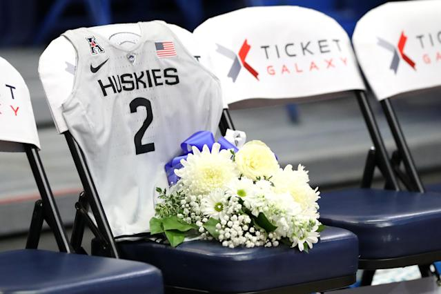 UConn paid tribute to Gianna Bryant. (Photo by Maddie Meyer/Getty Images)