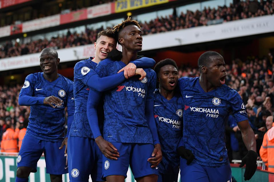 Tammy Abraham (middle) scored a late winner for Chelsea Sunday against Arsenal. (Darren Walsh/Getty)