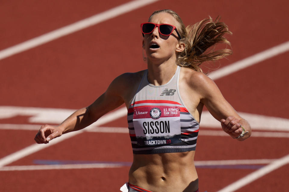Emily Sisson wins the women's 10000-meter run at the U.S. Olympic Track and Field Trials Saturday, June 26, 2021, in Eugene, Ore. (AP Photo/Charlie Riedel)