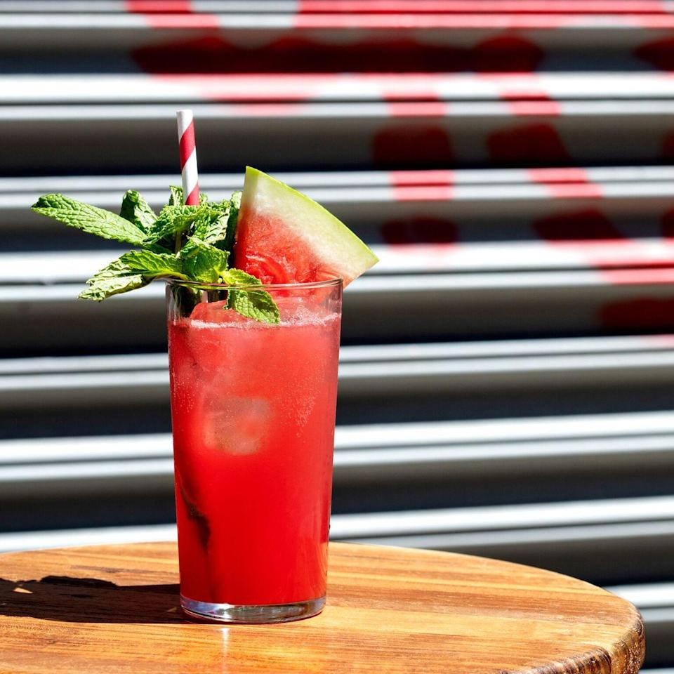 """<p><strong>Ingredients:</strong></p><p>1.5oz Aylesbury Duck Vodka <br>.5 Chareau <br>2oz Watermelon juice<br>.25 simple syrup <br>.25 lemon<br>Club soda</p><p><strong>Instructions: </strong></p><p>Combine the first 5 ingredients and our into Collins glass. Top off with club soda and garnish with watermelon and mint.<br></p><p><em>Created by <a href=""""https://urldefense.proofpoint.com/v2/url?u=https-3A__www.thefatradishnyc.com_&d=DwMFAg&c=B73tqXN8Ec0ocRmZHMCntw&r=qrees6DMiz7DcCRo18LROgGBAVdBfNTLG609uSkKkbA&m=V2mKBfCa_9yRbakTcPaePUZP7_lpTGYSIyI_fI2XWww&s=_3oLMMSYOPo13Nb2NsU8VMipKE9bsmZNvg5epSDfZnQ"""" rel=""""nofollow noopener"""" target=""""_blank"""" data-ylk=""""slk:The Fat Radish"""" class=""""link rapid-noclick-resp"""">The Fat Radish</a> in NYC</em><br></p>"""