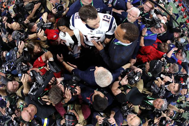 <p>Tom Brady #12 of the New England Patriots celebrates after his teams 13-3 win over the Los Angeles Rams during Super Bowl LIII at Mercedes-Benz Stadium on February 03, 2019 in Atlanta, Georgia. (Photo by Al Bello/Getty Images) </p>