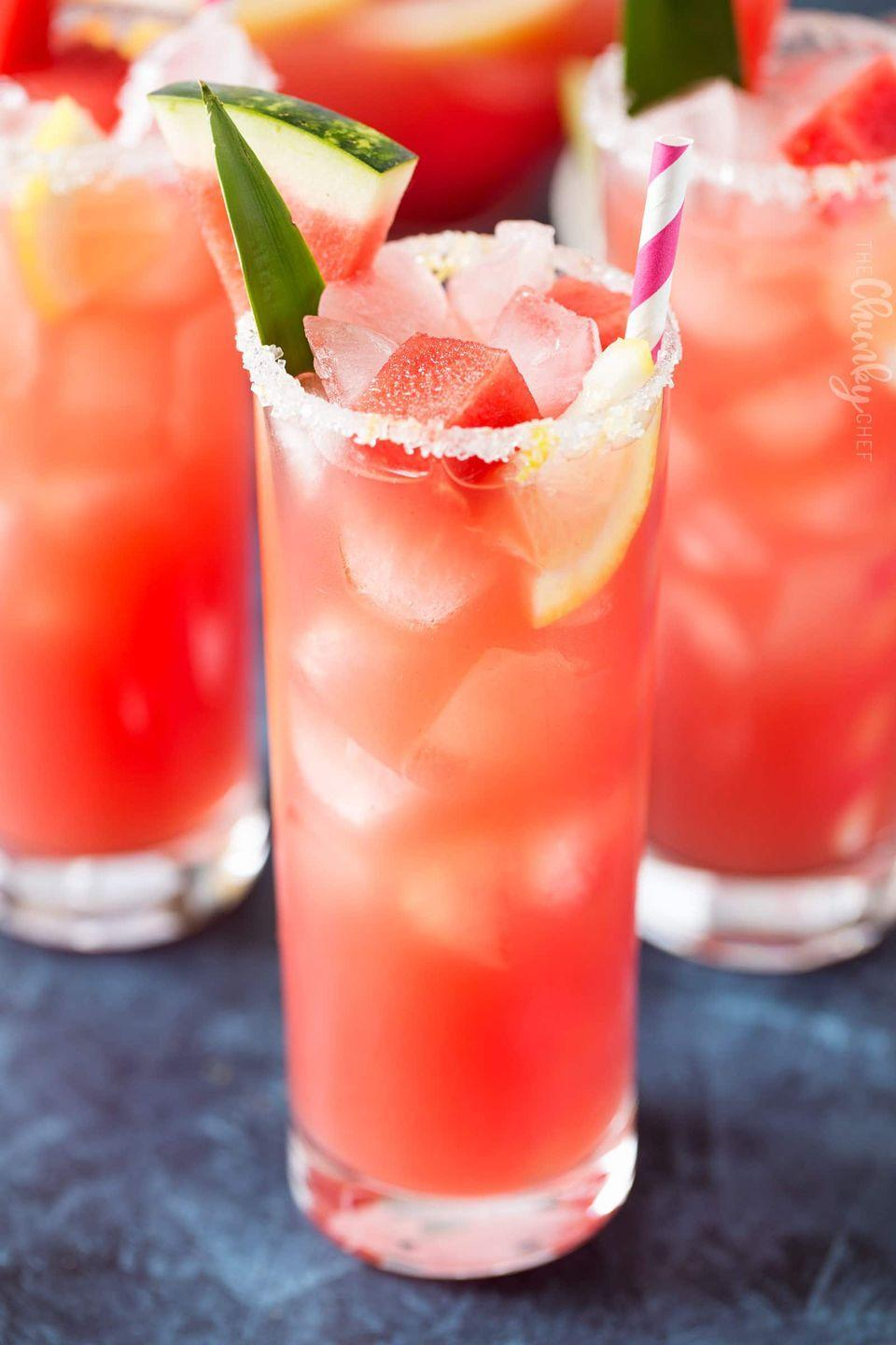 """<p>The only thing better than a tall glass of lemonade is one with watermelon juice, and a cute striped straw!</p><p><strong>Get the recipe at <a href=""""https://www.thechunkychef.com/summer-watermelon-lemonade/"""" rel=""""nofollow noopener"""" target=""""_blank"""" data-ylk=""""slk:The Chunky Chef"""" class=""""link rapid-noclick-resp"""">The Chunky Chef</a>.</strong></p><p><strong><strong><a class=""""link rapid-noclick-resp"""" href=""""https://go.redirectingat.com?id=74968X1596630&url=https%3A%2F%2Fwww.walmart.com%2Fip%2FThe-Pioneer-Woman-3-2-Quart-Willow-Pitcher%2F456874744&sref=https%3A%2F%2Fwww.thepioneerwoman.com%2Ffood-cooking%2Fmeals-menus%2Fg32147587%2Fwatermelon-drink-recipes%2F"""" rel=""""nofollow noopener"""" target=""""_blank"""" data-ylk=""""slk:SHOP PITCHERS"""">SHOP PITCHERS</a></strong><br></strong></p>"""