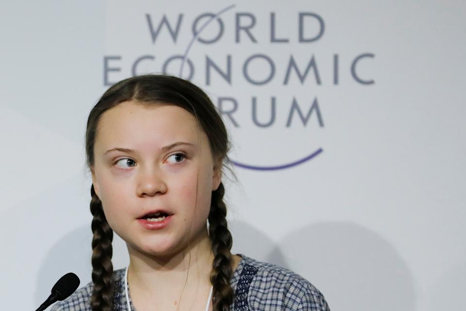 16-year old Swedish environmental activist Greta Thunberg takes part in a panel discussion during the World Economic Forum (WEF) annual meeting in Davos, Switzerland, January 25, 2019. REUTERS/Arnd Wiegmann