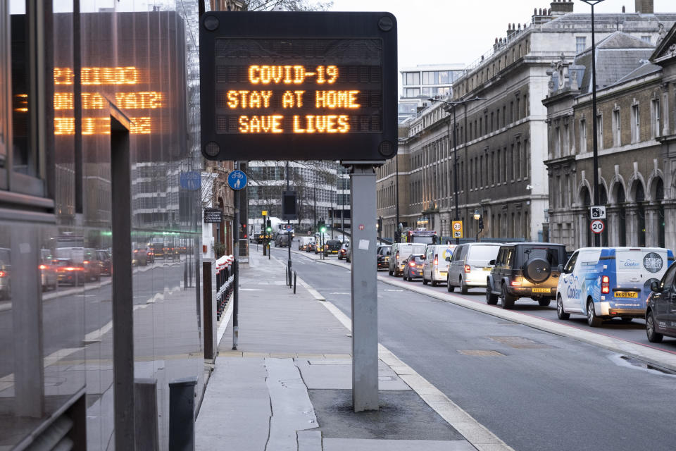 Sign for motorists on Upper Thames Street as the national coronavirus lockdown three continues on 28th January 2021 in London, United Kingdom. Following the surge in cases over the Winter including a new UK variant of Covid-19, this nationwide lockdown advises all citizens to follow the message to stay at home, protect the NHS and save lives. (photo by Mike Kemp/In Pictures via Getty Images)