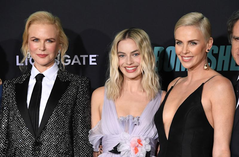 "A photo of Nicole Kidman, Margot Robbie and Charlize Theron at the Special Screening Of Liongate's ""Bombshell"" at Regency Village Theatre on December 10, 2019 in Westwood, California."