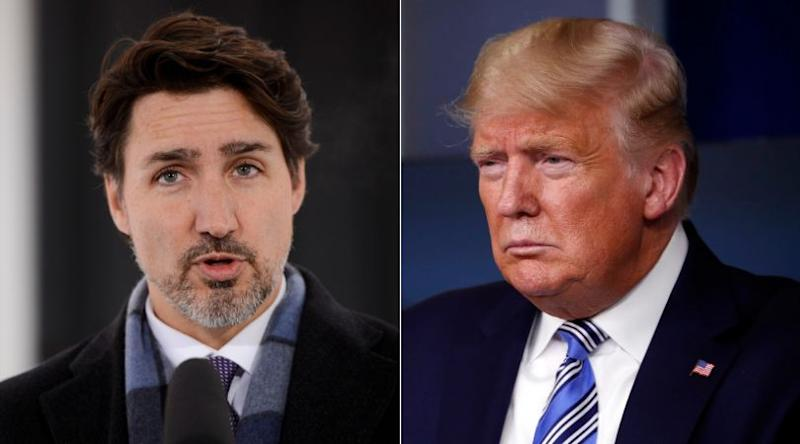 Prime Minister Justin Trudeau and U.S. President Donald Trump are shown in a composite image of photos from The Canadian Press. (Photo: CP)