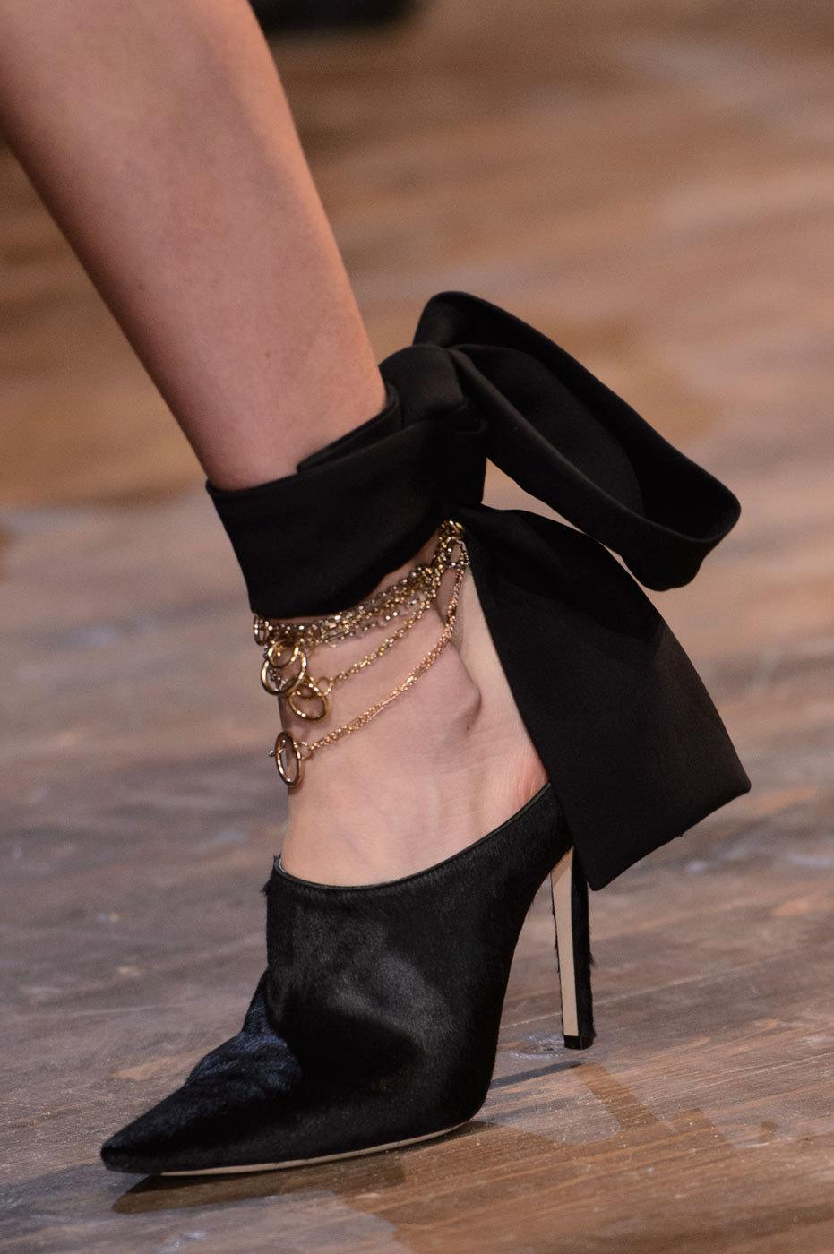 """<p>Pony hair sling backs + piles of gold anklets + velvet ribbons = fiesta for your feet at <a href=""""http://www.dior.com/home/en_us"""" rel=""""nofollow noopener"""" target=""""_blank"""" data-ylk=""""slk:Christian Dior."""" class=""""link rapid-noclick-resp"""">Christian Dior.</a> <i>Photos: Imaxtree</i></p>"""