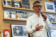 """Herb Tam, Curator and Director of Exhibitions of the Museum of Chinese in America, speaks during the press preview of """"Responses: Asian American Voices Resisting the Tides of Racism"""" at the Museum of Chinese in America, Wednesday, July 14, 2021, in New York. (AP Photo/Mary Altaffer)"""