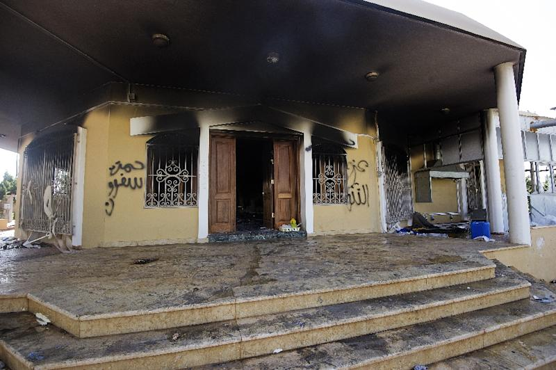 A burnt building at the US consulate compound in Benghazi, Lybia, on September 13, 2012, following an attack late on September 11 (AFP Photo/Gianluigi Guercia)