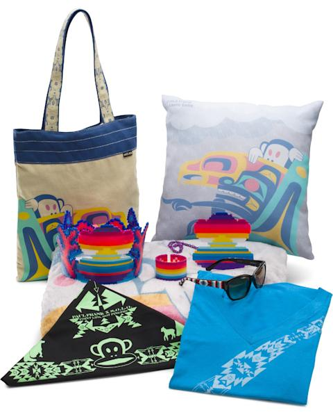 This undated image provided by Paul Frank Industries Inc. shows merchandise created through a collaboration with four Native American artists and designers. The new collection was to be unveiled Friday, Aug. 16, 2013, at the SWAIA Indian Market in Santa Fe, N.M. (AP Photo/Paul Frank Industries Inc.)