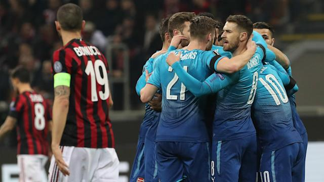 "<a class=""link rapid-noclick-resp"" href=""/soccer/teams/arsenal/"" data-ylk=""slk:Arsenal"">Arsenal</a> surprised many by going into the San Siro and beating in-form AC Milan in the Europa League. (Goal.com)"