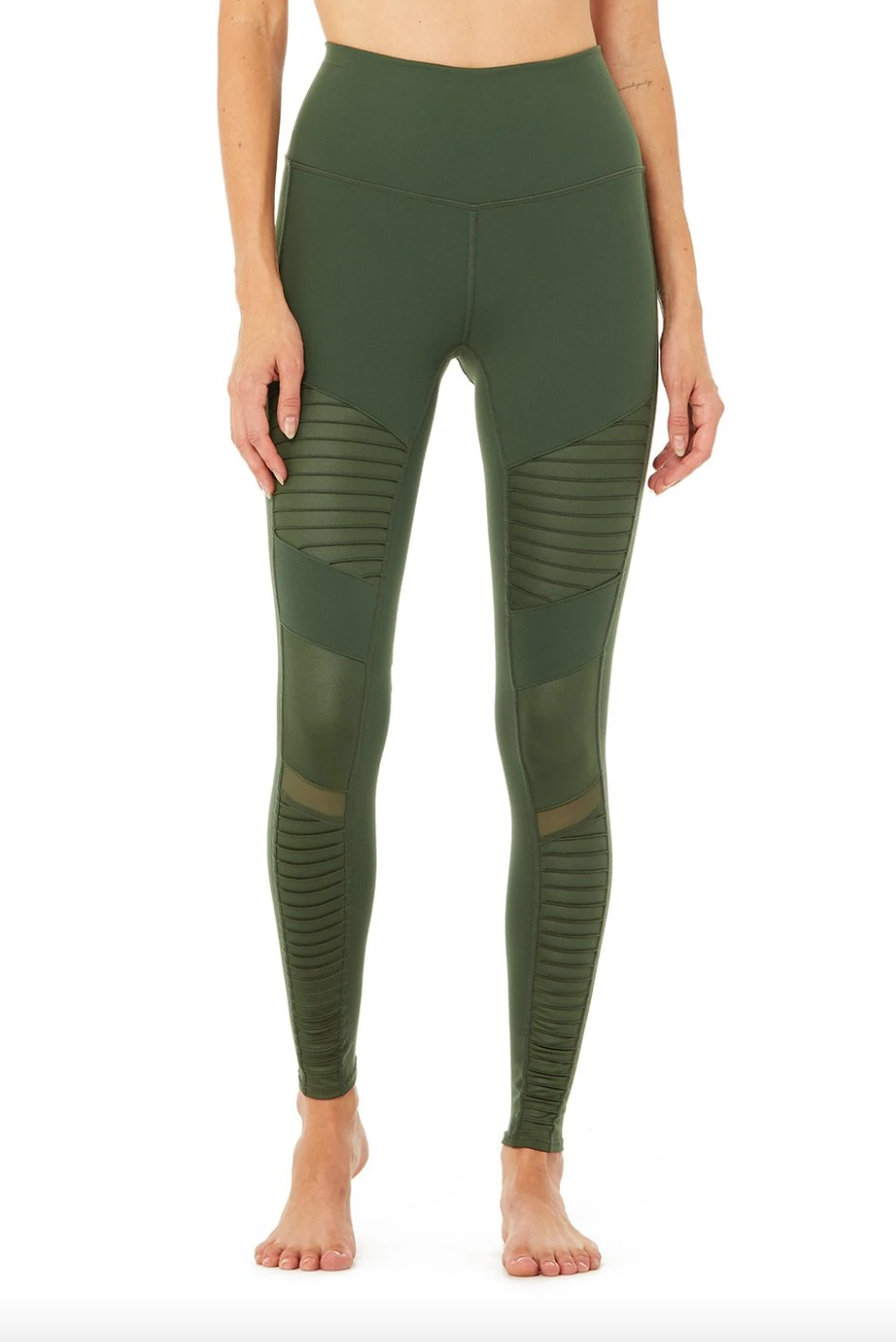 Alo Yoga High-Waist Moto Legging in Hunter/Hunter Glossy (Photo via Alo Yoga)